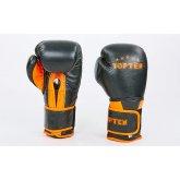 Перчатки боксерские кожаные TOP TEN MA-6756-OR черный-оранжевый