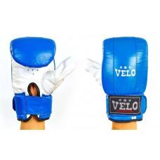 Купить Снарядные перчатки с манжетом на липучке Кожа VELO ULI-4001-B синий-белый недорого