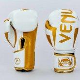 Перчатки боксерские кожаные на липучке VENUM ELITE VL-8291-W белый-золотой
