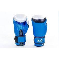 Купить Перчатки боксерские кожаные на липучке BAD BOY MA-5433-B1 синий-черный-серый недорого