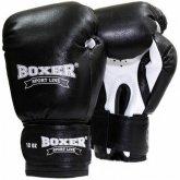 Купить Боксерские перчатки Boxer (кожа) черные недорого