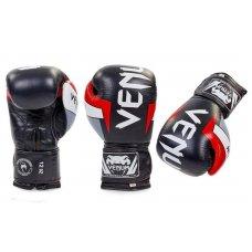 Купить Перчатки боксерские кожаные на липучке VENUM ELITE BO-5238-BKW черный-белый недорого