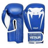 Перчатки боксерские кожаные на липучке VENUM GIANT VL-8315-BL сине белые