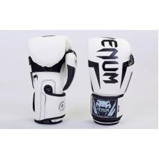 Купить Перчатки боксерские PU на липучке VENUM BO-5698-W бело чёрные недорого