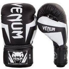 Купить Перчатки боксерские кожаные на липучке VENUM CHALLENGER BO-5245-BK  черный-белый недорого