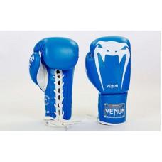 Купить Перчатки боксерские кожаные на шнуровке VENUM GIANT VL-5786-B синие недорого
