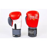 Перчатки боксерские кожаные на липучке EVERLAST MA-6750-R красный-серый