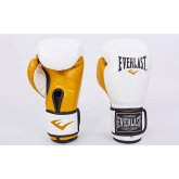 Купить Перчатки боксерские кожаные на липучке EVERLAST MA-6750-W белый-золото  недорого