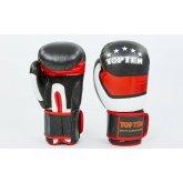 Перчатки боксерские кожаные на липучке TOP TEN MA-6752-BK черный-красный-белый