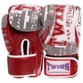 Купить Кожаные боксерские перчатки на липучке TWINS VL-2066 красные, синие недорого
