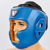 Купить Шлем боксерский с полной защитой кожаный VELO VL-8193-B синий недорого