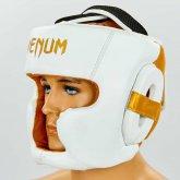 Купить Шлем боксерский с полной защитой кожаный VENUM ELITE VL-8312-W белый-золотой недорого