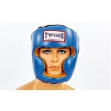 Купить Шлем боксерский с полной защитой кожаный TWINS VL-6630-B синий недорого