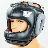 Купить Шлем боксерский с бампером кожаный VELO BO-6636-BK (черный) недорого